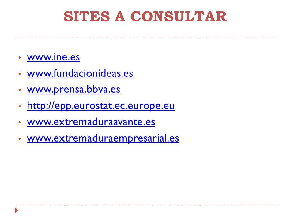 SITES A CONSULTAR www.ine.es www.fundacionideas.es www.prensa.bbva.es http://epp.eurostat.ec.europe.eu www.extremaduraavante.es www.extremaduraempresa