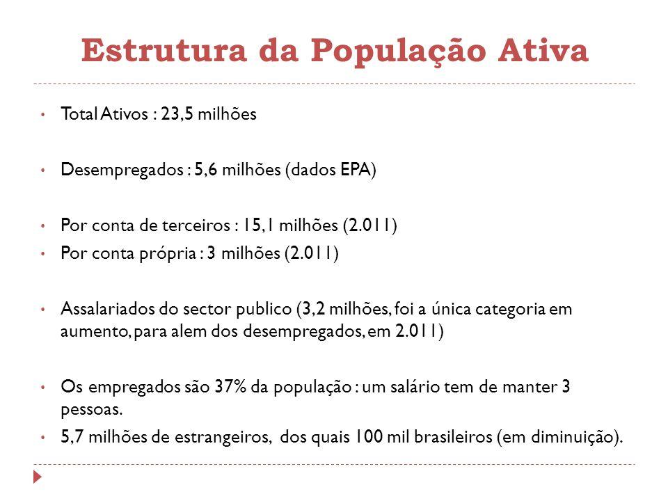 Estrutura da População Ativa Total Ativos : 23,5 milhões Desempregados : 5,6 milhões (dados EPA) Por conta de terceiros : 15,1 milhões (2.011) Por con