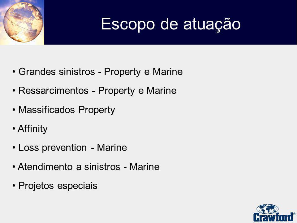 Grandes sinistros - Property e Marine Ressarcimentos - Property e Marine Massificados Property Affinity Loss prevention - Marine Atendimento a sinistros - Marine Projetos especiais Escopo de atuação