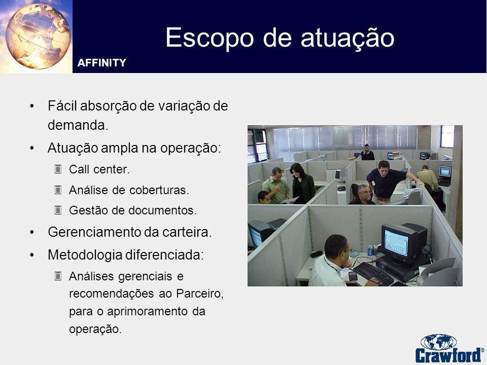 Fácil absorção de variação de demanda. Atuação ampla na operação: 3Call center. 3Análise de coberturas. 3Gestão de documentos. Gerenciamento da cartei
