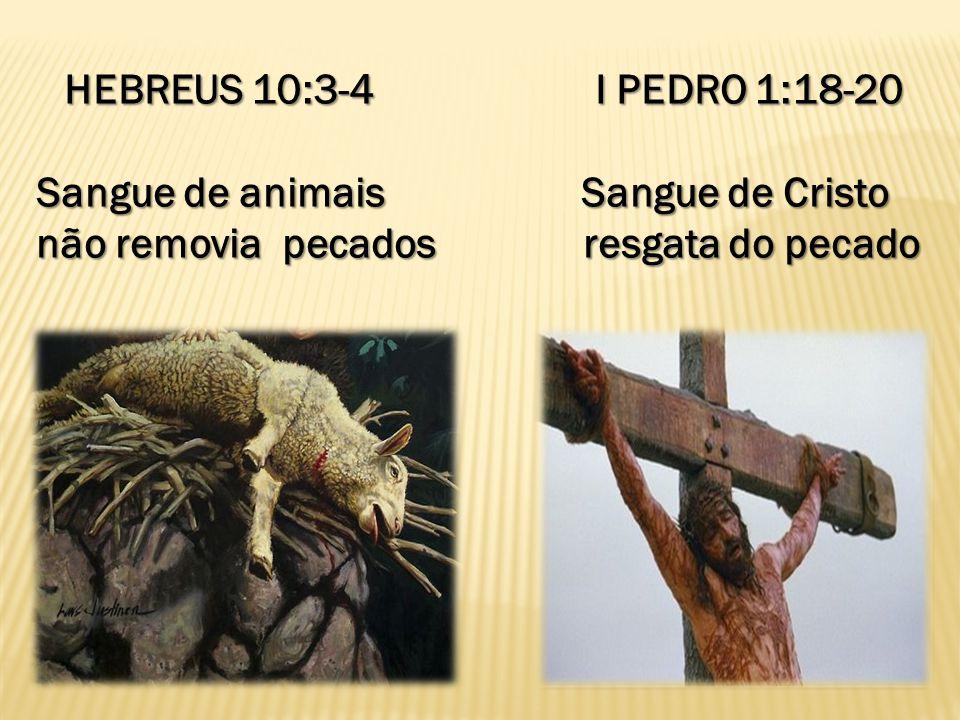 HEBREUS 10:3-4 I PEDRO 1:18-20 Sangue de animais Sangue de Cristo não removia pecados resgata do pecado