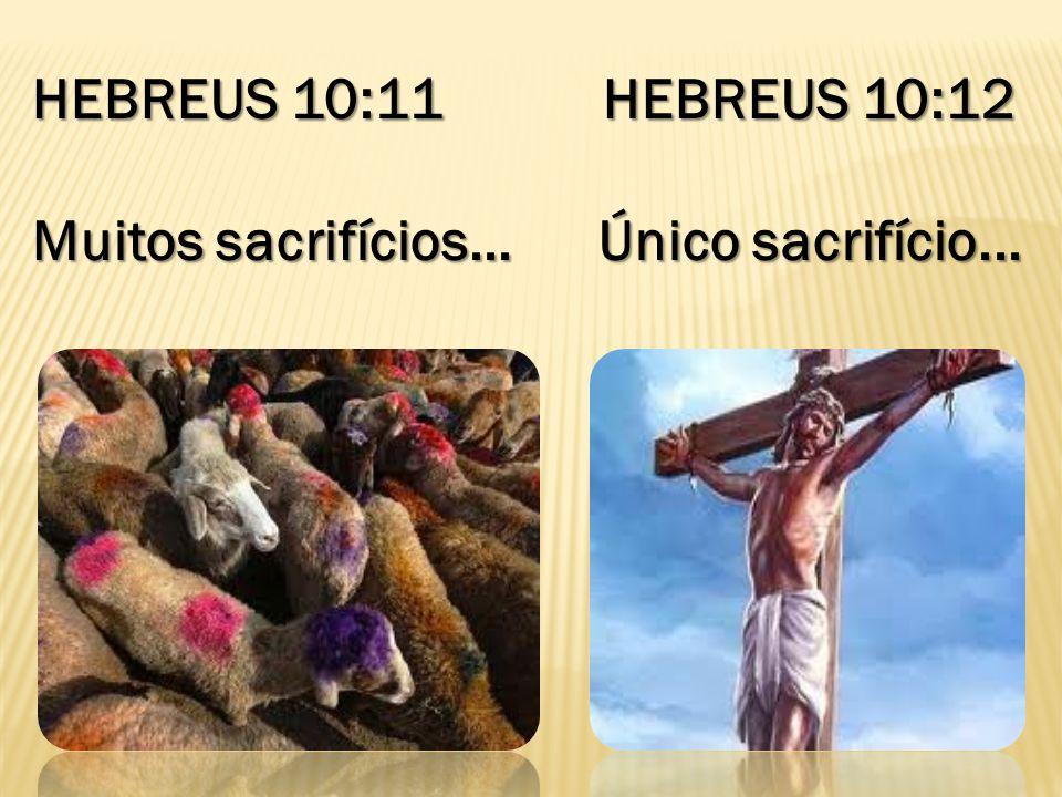 HEBREUS 10:11 HEBREUS 10:12 Muitos sacrifícios... Único sacrifício...