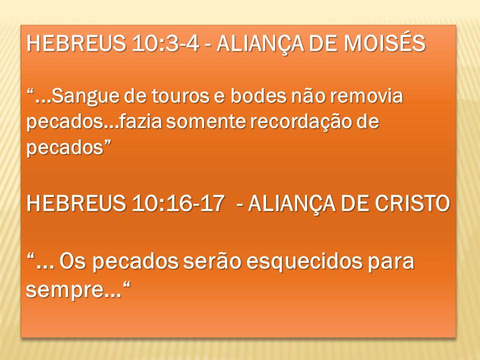HEBREUS 10:3-4 - ALIANÇA DE MOISÉS...Sangue de touros e bodes não removia pecados...fazia somente recordação de pecados HEBREUS 10:16-17 - ALIANÇA DE