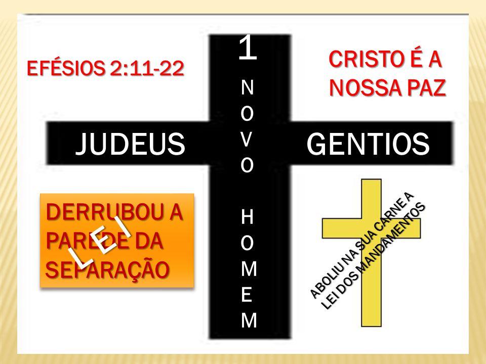 JUDEUS GENTIOS 1 NOVOHOMEM NNOOVVOOHHOOMMEEMM NNOOVVOOHHOOMMEEMM EFÉSIOS 2:11-22 CRISTO É A NOSSA PAZ DERRUBOU A PAREDE DA SEPARAÇÃO L E I ABOLIU NA S