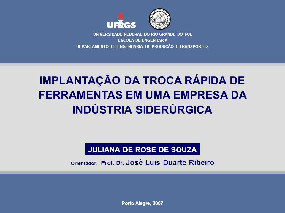 Juliana de Rose de Souza 1 IMPLANTAÇÃO DA TROCA RÁPIDA DE FERRAMENTAS EM UMA EMPRESA DA INDÚSTRIA SIDERÚRGICA UNIVERSIDADE FEDERAL DO RIO GRANDE DO SU
