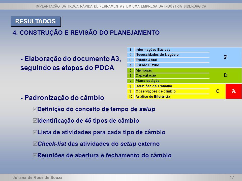 Juliana de Rose de Souza 17 IMPLANTAÇÃO DA TROCA RÁPIDA DE FERRAMENTAS EM UMA EMPRESA DA INDÚSTRIA SIDERÚRGICA 4. CONSTRUÇÃO E REVISÃO DO PLANEJAMENTO
