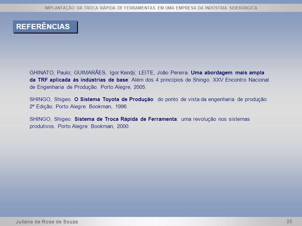 Juliana de Rose de Souza 25 IMPLANTAÇÃO DA TROCA RÁPIDA DE FERRAMENTAS EM UMA EMPRESA DA INDÚSTRIA SIDERÚRGICA REFERÊNCIAS GHINATO, Paulo; GUIMARÃES,
