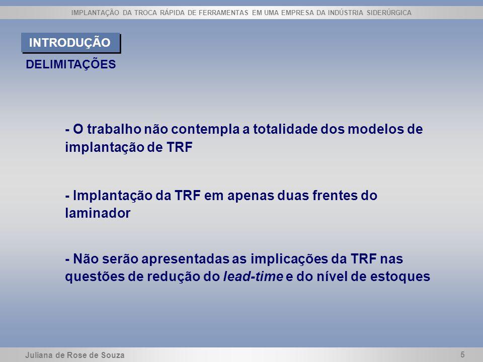 Juliana de Rose de Souza 5 IMPLANTAÇÃO DA TROCA RÁPIDA DE FERRAMENTAS EM UMA EMPRESA DA INDÚSTRIA SIDERÚRGICA DELIMITAÇÕES INTRODUÇÃO - O trabalho não