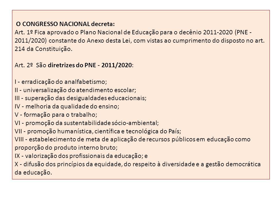 O CONGRESSO NACIONAL decreta: Art. 1º Fica aprovado o Plano Nacional de Educação para o decênio 2011-2020 (PNE - 2011/2020) constante do Anexo desta L