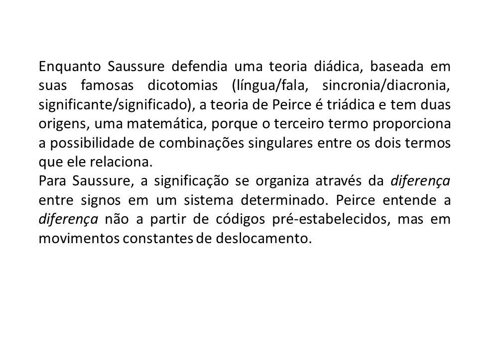 Enquanto Saussure defendia uma teoria diádica, baseada em suas famosas dicotomias (língua/fala, sincronia/diacronia, significante/significado), a teor