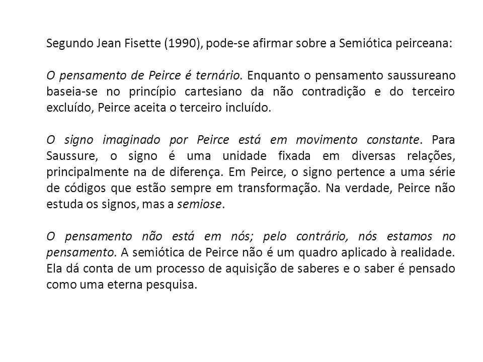 Segundo Jean Fisette (1990), pode-se afirmar sobre a Semiótica peirceana: O pensamento de Peirce é ternário. Enquanto o pensamento saussureano baseia-