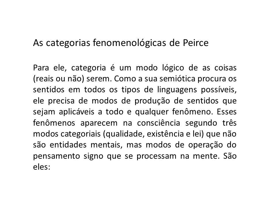 As categorias fenomenológicas de Peirce Para ele, categoria é um modo lógico de as coisas (reais ou não) serem. Como a sua semiótica procura os sentid