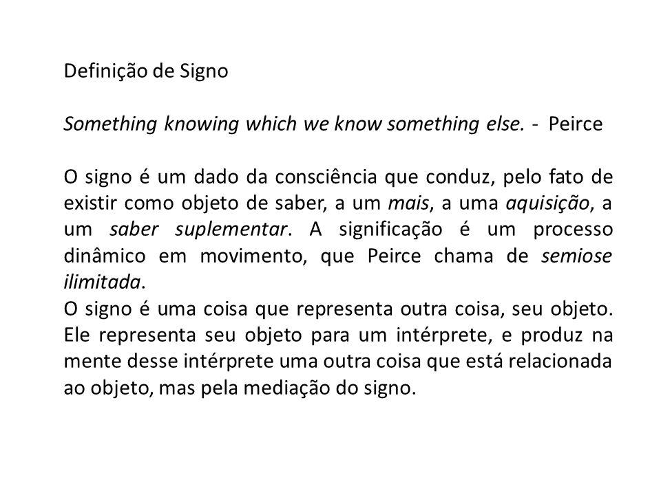 Definição de Signo Something knowing which we know something else. - Peirce O signo é um dado da consciência que conduz, pelo fato de existir como obj