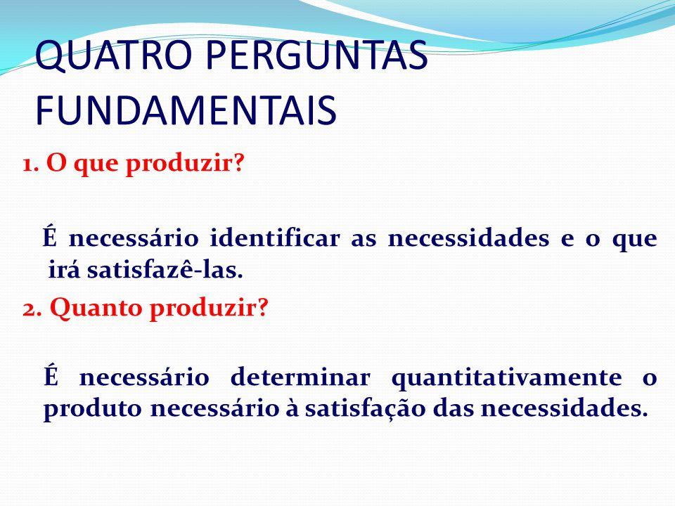 QUATRO PERGUNTAS FUNDAMENTAIS 1. O que produzir? É necessário identificar as necessidades e o que irá satisfazê-las. 2. Quanto produzir? É É necessári