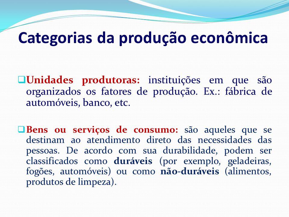 Categorias da produção econômica Unidades produtoras: instituições em que são organizados os fatores de produção. Ex.: fábrica de automóveis, banco, e