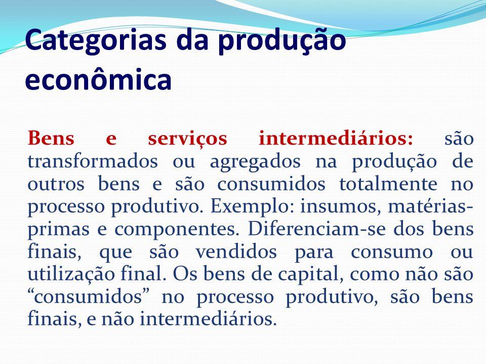 Categorias da produção econômica B Bens e serviços intermediários: são transformados ou agregados na produção de outros bens e são consumidos totalmen