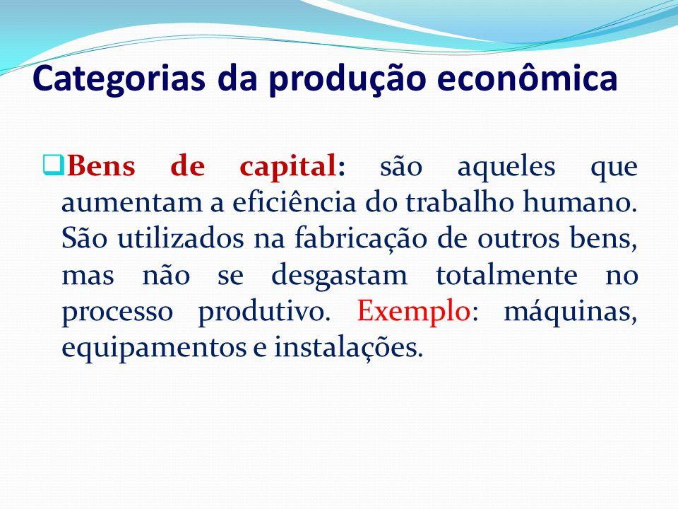 Categorias da produção econômica Bens de capital: são aqueles que aumentam a eficiência do trabalho humano. São utilizados na fabricação de outros ben