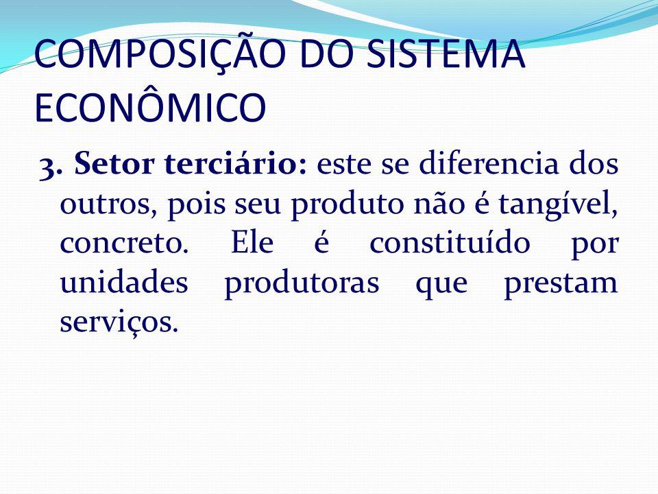 COMPOSIÇÃO DO SISTEMA ECONÔMICO 3. Setor terciário: este se diferencia dos outros, pois seu produto não é tangível, concreto. Ele é constituído por un