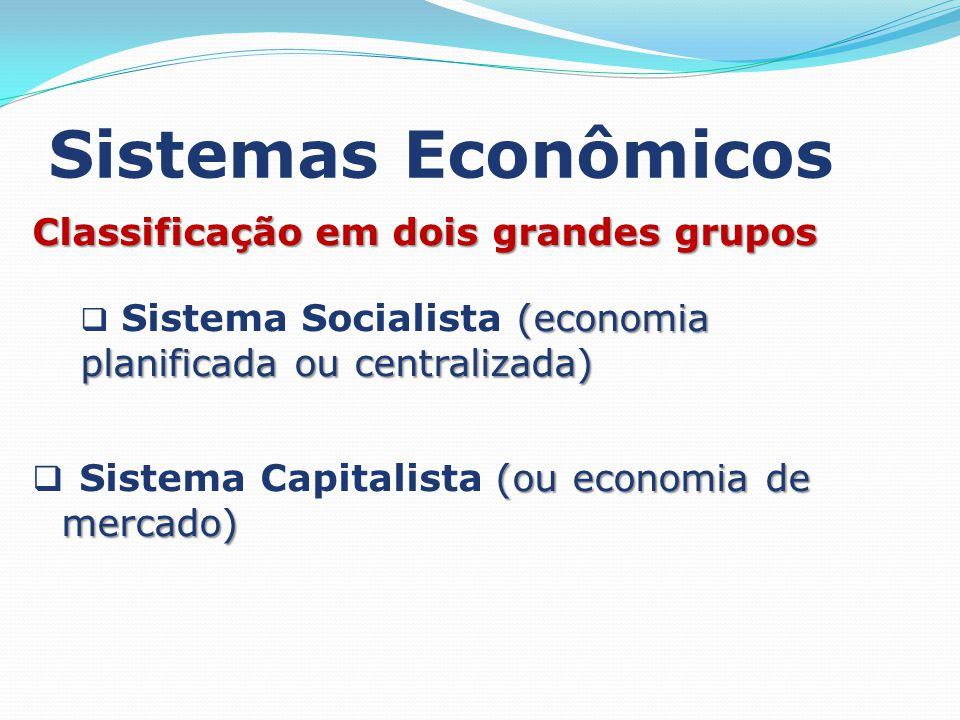 Sistemas Econômicos Classificação em dois grandes grupos (economia planificada ou centralizada) Sistema Socialista (economia planificada ou centralizada) (ou economia de mercado) Sistema Capitalista (ou economia de mercado)