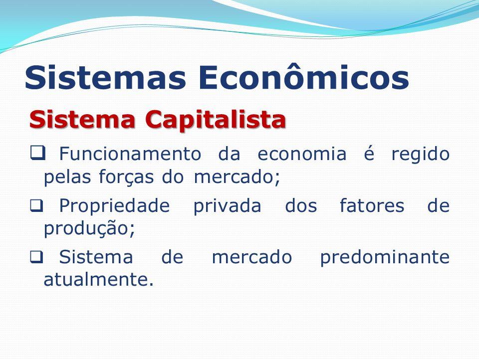 Sistemas Econômicos Sistema Capitalista Funcionamento da economia é regido pelas forças do mercado; Propriedade privada dos fatores de produção; Siste