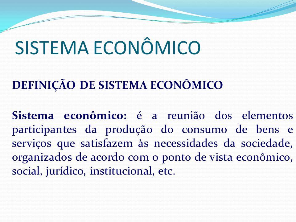 SISTEMA ECONÔMICO I DEFINIÇÃO DE SISTEMA ECONÔMICO S Sistema econômico: é a reunião dos elementos participantes da produção do consumo de bens e servi