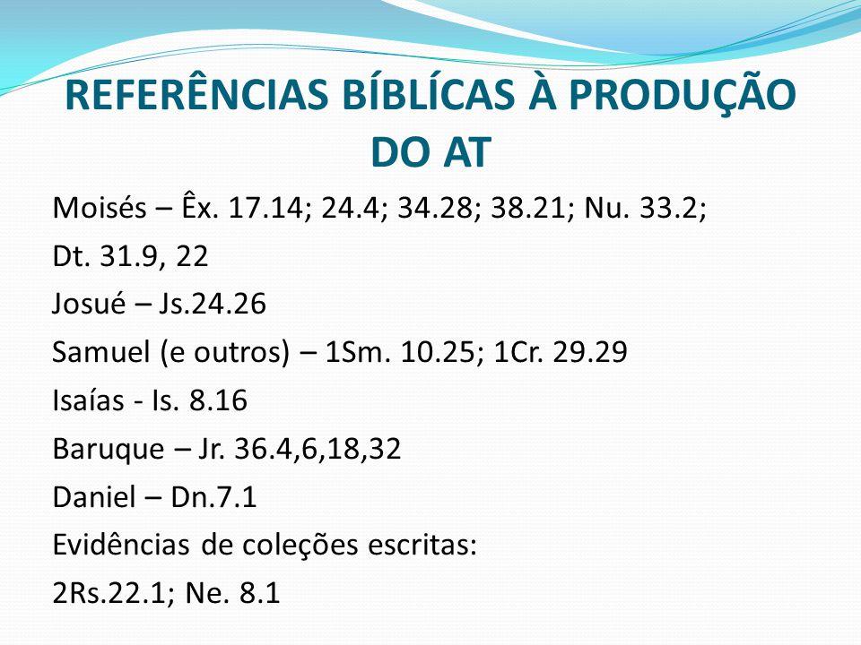 REFERÊNCIAS BÍBLÍCAS À PRODUÇÃO DO AT Moisés – Êx. 17.14; 24.4; 34.28; 38.21; Nu. 33.2; Dt. 31.9, 22 Josué – Js.24.26 Samuel (e outros) – 1Sm. 10.25;