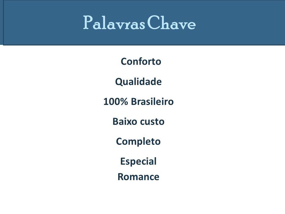 Palavras Chave Conforto Qualidade 100% Brasileiro Baixo custo Completo Especial Romance