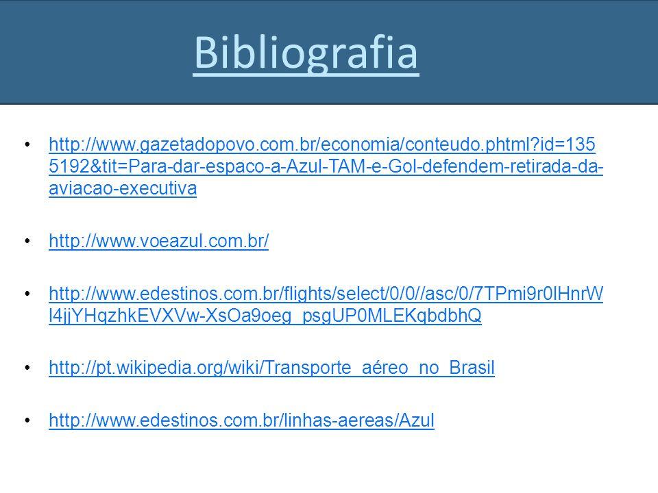 http://www.gazetadopovo.com.br/economia/conteudo.phtml?id=135 5192&tit=Para-dar-espaco-a-Azul-TAM-e-Gol-defendem-retirada-da- aviacao-executivahttp://www.gazetadopovo.com.br/economia/conteudo.phtml?id=135 5192&tit=Para-dar-espaco-a-Azul-TAM-e-Gol-defendem-retirada-da- aviacao-executiva http://www.voeazul.com.br/ http://www.edestinos.com.br/flights/select/0/0//asc/0/7TPmi9r0lHnrW l4jjYHqzhkEVXVw-XsOa9oeg_psgUP0MLEKqbdbhQhttp://www.edestinos.com.br/flights/select/0/0//asc/0/7TPmi9r0lHnrW l4jjYHqzhkEVXVw-XsOa9oeg_psgUP0MLEKqbdbhQ http://pt.wikipedia.org/wiki/Transporte_aéreo_no_Brasil http://www.edestinos.com.br/linhas-aereas/Azul Bibliografia