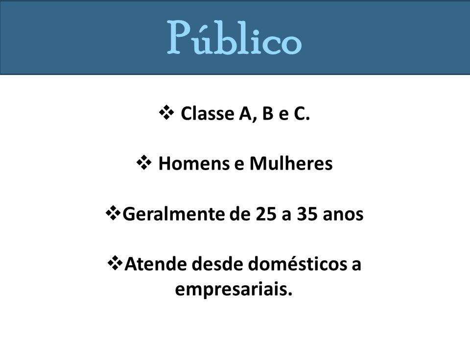 Público Classe A, B e C.