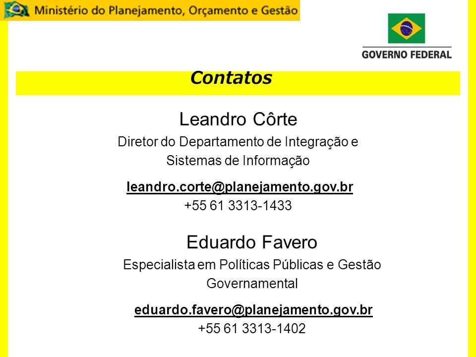 Contatos Leandro Côrte Diretor do Departamento de Integração e Sistemas de Informação leandro.corte@planejamento.gov.br +55 61 3313-1433 Eduardo Favero Especialista em Políticas Públicas e Gestão Governamental eduardo.favero@planejamento.gov.br +55 61 3313-1402