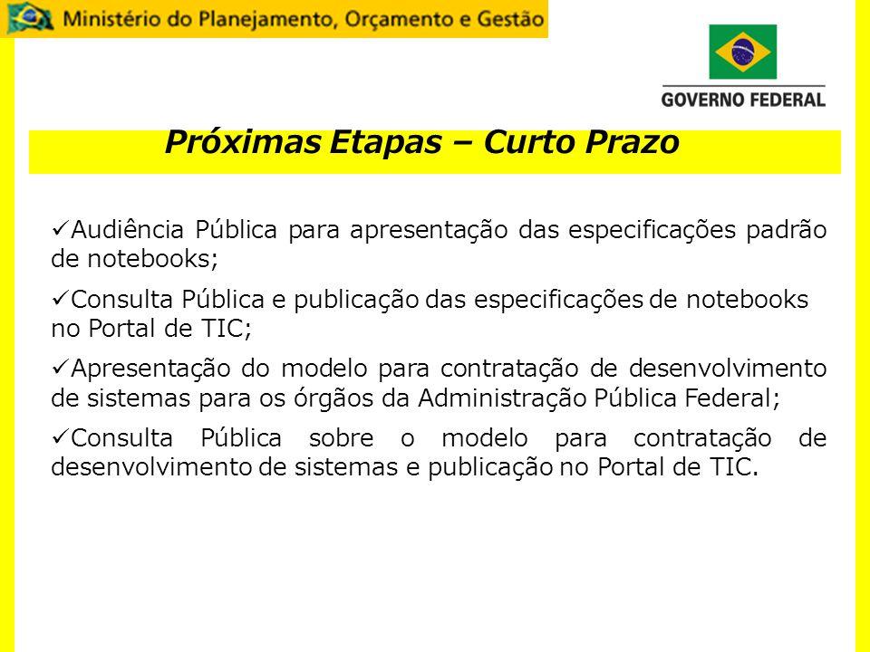 Próximas Etapas – Curto Prazo Audiência Pública para apresentação das especificações padrão de notebooks; Consulta Pública e publicação das especifica