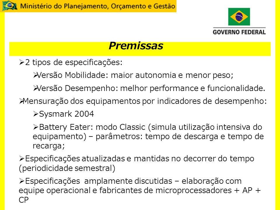 Premissas 2 tipos de especificações: Versão Mobilidade: maior autonomia e menor peso; Versão Desempenho: melhor performance e funcionalidade. Mensuraç