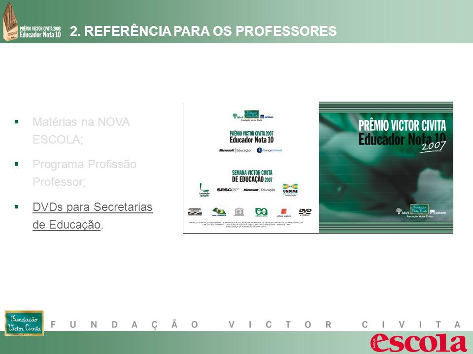 2. REFERÊNCIA PARA OS PROFESSORES Matérias na NOVA ESCOLA; Programa Profissão Professor; DVDs para Secretarias de Educação.
