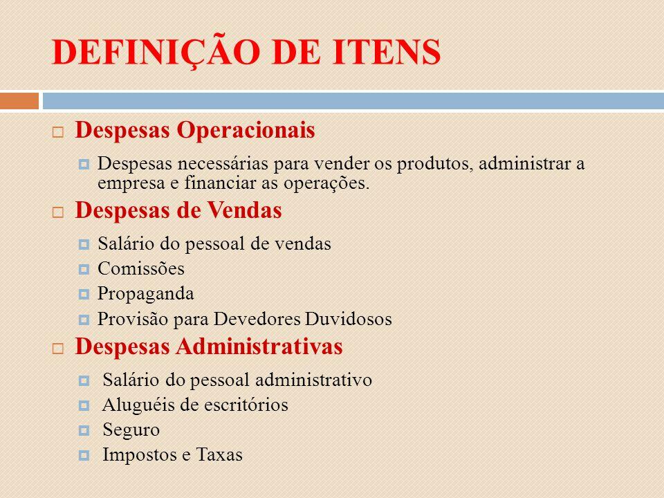 DEFINIÇÃO DE ITENS Despesas Operacionais Despesas necessárias para vender os produtos, administrar a empresa e financiar as operações. Despesas de Ven