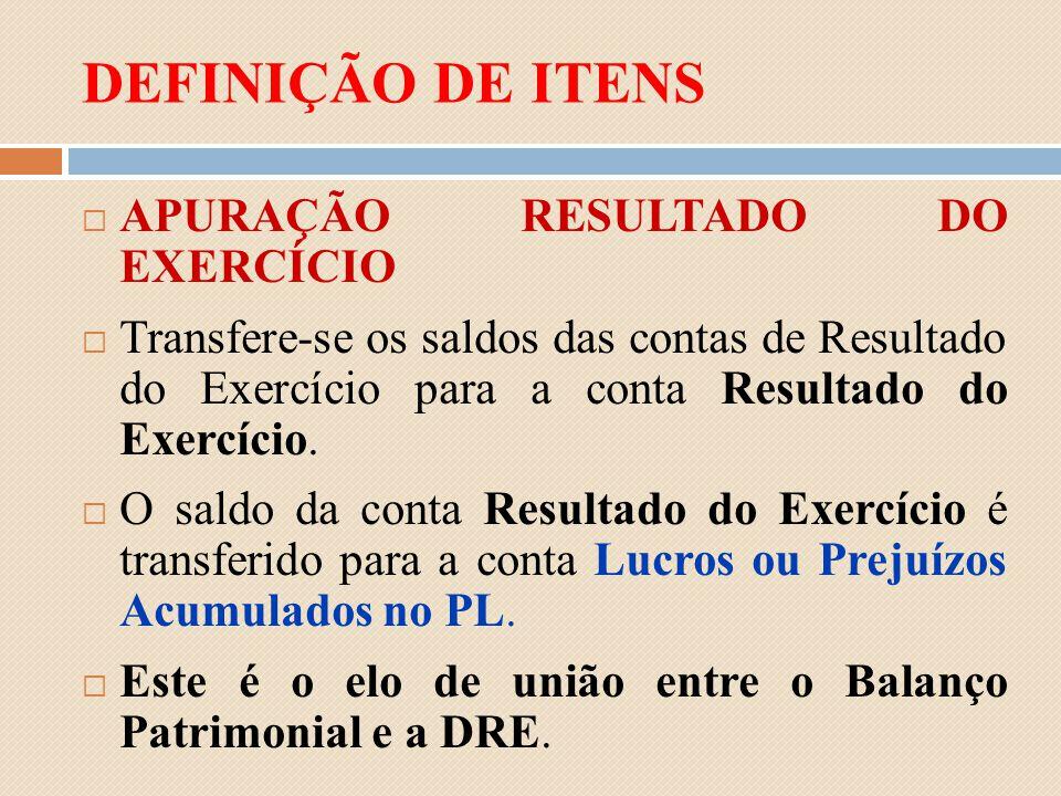 DEFINIÇÃO DE ITENS APURAÇÃO RESULTADO DO EXERCÍCIO Transfere-se os saldos das contas de Resultado do Exercício para a conta Resultado do Exercício. O