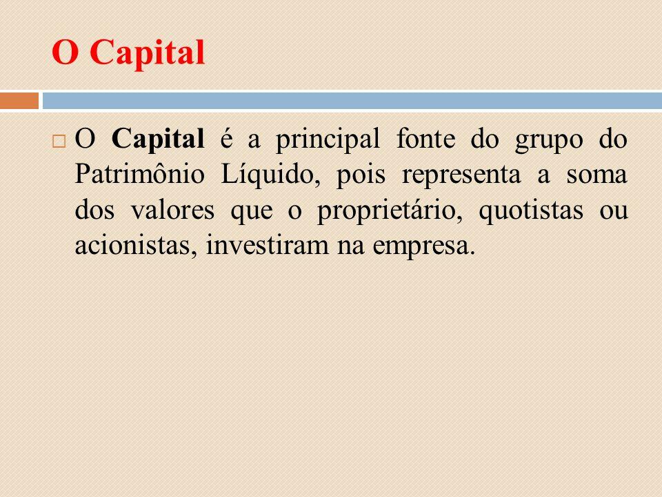 O Capital O Capital é a principal fonte do grupo do Patrimônio Líquido, pois representa a soma dos valores que o proprietário, quotistas ou acionistas