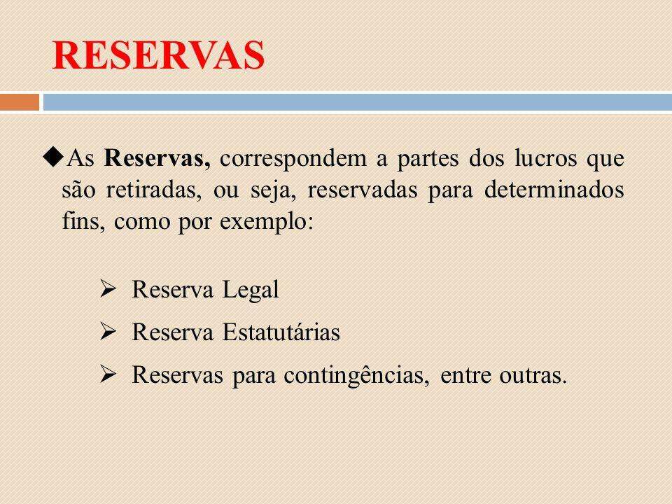As Reservas, correspondem a partes dos lucros que são retiradas, ou seja, reservadas para determinados fins, como por exemplo: Reserva Legal Reserva E