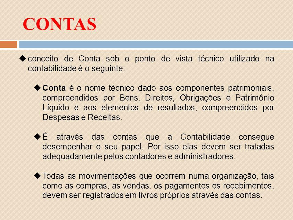 conceito de Conta sob o ponto de vista técnico utilizado na contabilidade é o seguinte: Conta é o nome técnico dado aos componentes patrimoniais, comp