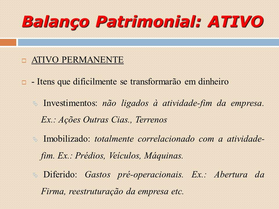 Balanço Patrimonial: ATIVO ATIVO PERMANENTE - Itens que dificilmente se transformarão em dinheiro Investimentos: não ligados à atividade-fim da empres