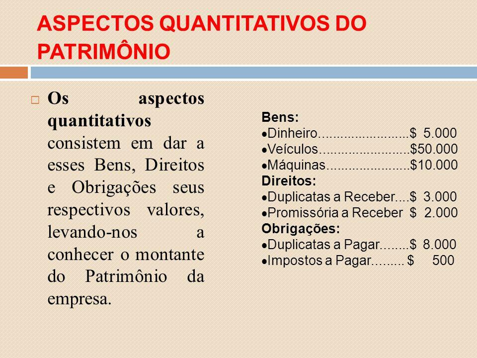 ASPECTOS QUANTITATIVOS DO PATRIMÔNIO Os aspectos quantitativos consistem em dar a esses Bens, Direitos e Obrigações seus respectivos valores, levando-