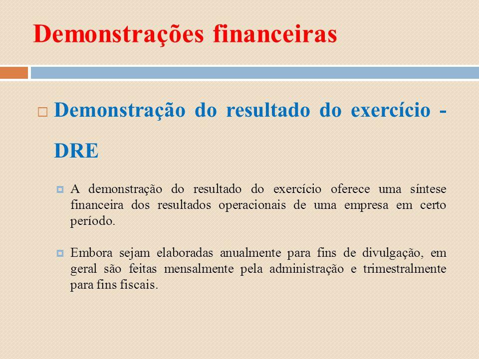 Demonstrações financeiras Demonstração do resultado do exercício - DRE A demonstração do resultado do exercício oferece uma síntese financeira dos res