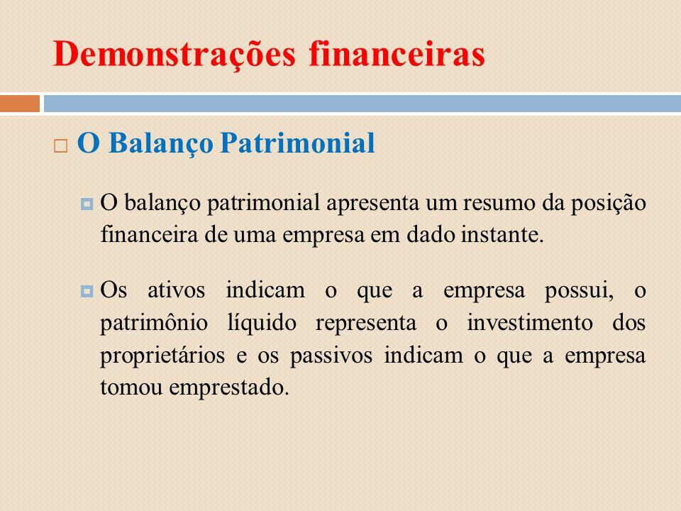 Demonstrações financeiras O Balanço Patrimonial O balanço patrimonial apresenta um resumo da posição financeira de uma empresa em dado instante. Os at