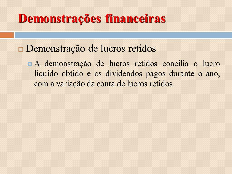Demonstrações financeiras Demonstração de lucros retidos A demonstração de lucros retidos concilia o lucro líquido obtido e os dividendos pagos durant