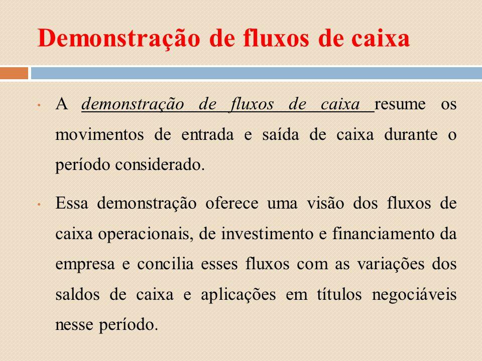 Demonstração de fluxos de caixa A demonstração de fluxos de caixa resume os movimentos de entrada e saída de caixa durante o período considerado. Essa