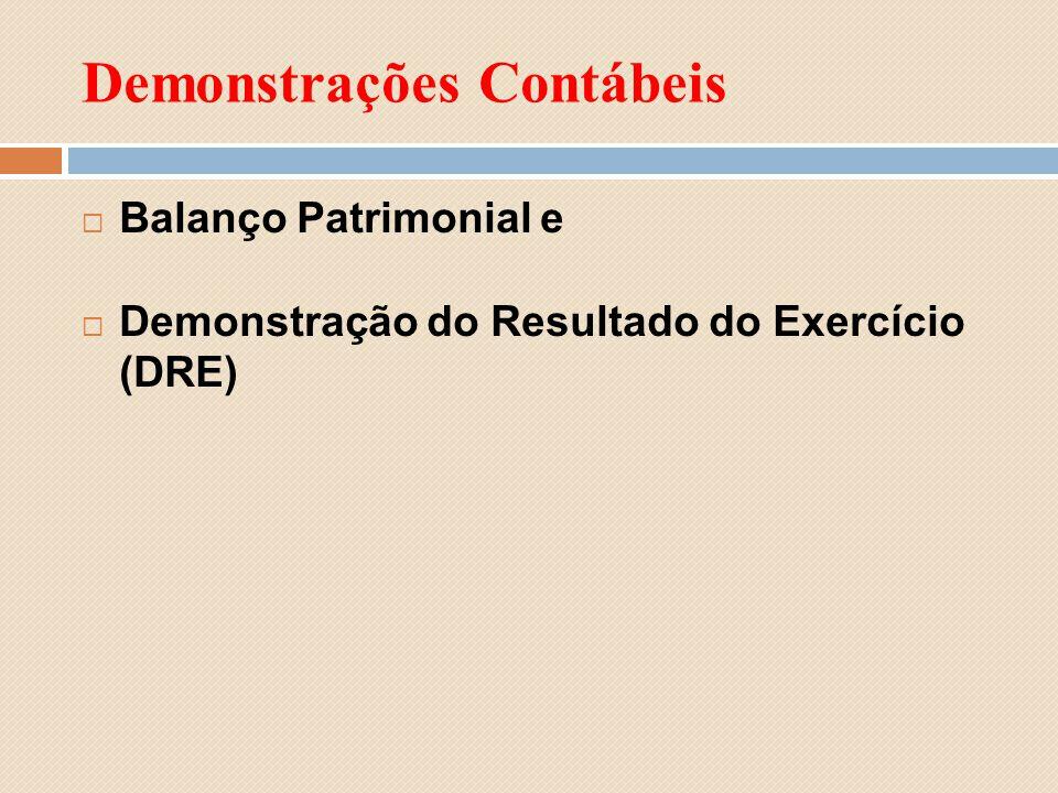 Demonstrações Contábeis Balanço Patrimonial e Demonstração do Resultado do Exercício (DRE)