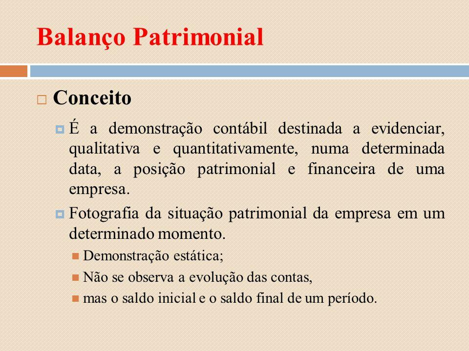 Balanço Patrimonial Conceito É a demonstração contábil destinada a evidenciar, qualitativa e quantitativamente, numa determinada data, a posição patri