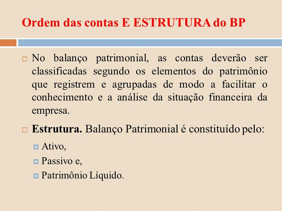 Ordem das contas E ESTRUTURA do BP No balanço patrimonial, as contas deverão ser classificadas segundo os elementos do patrimônio que registrem e agru