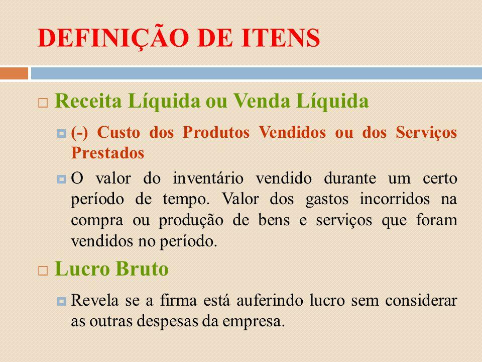 DEFINIÇÃO DE ITENS Receita Líquida ou Venda Líquida (-) Custo dos Produtos Vendidos ou dos Serviços Prestados O valor do inventário vendido durante um