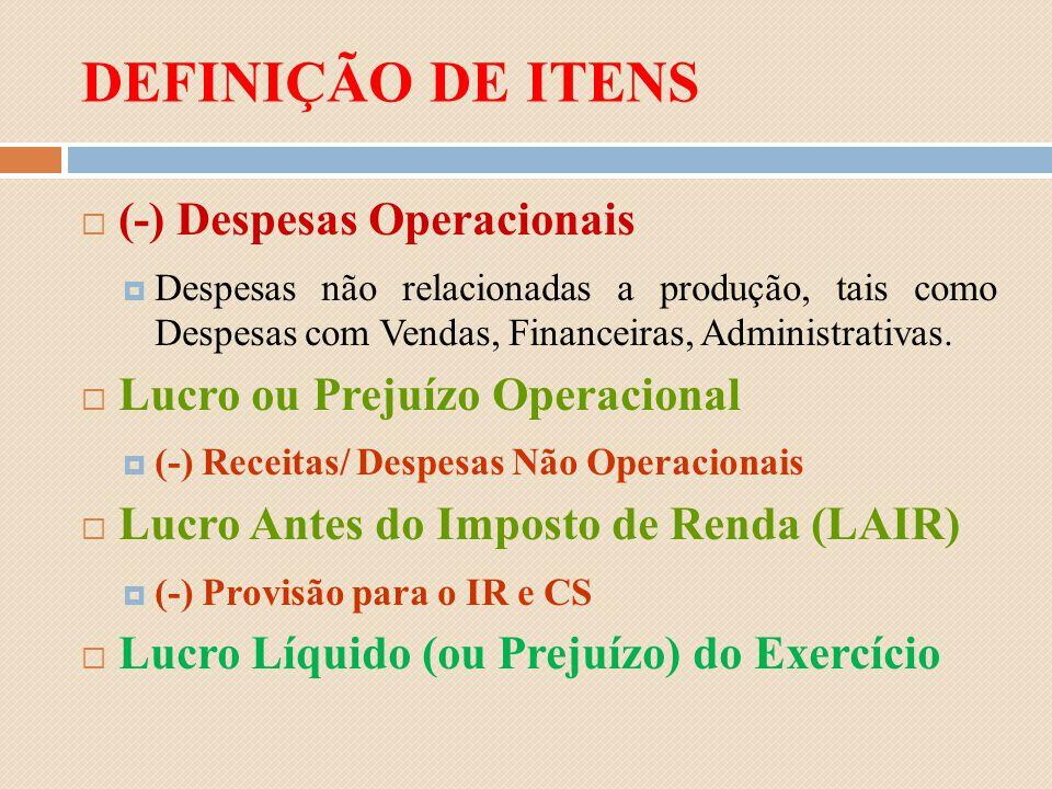 DEFINIÇÃO DE ITENS (-) Despesas Operacionais Despesas não relacionadas a produção, tais como Despesas com Vendas, Financeiras, Administrativas. Lucro