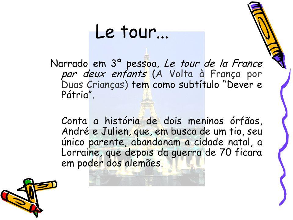 Le tour... Narrado em 3ª pessoa, Le tour de la France par deux enfants (A Volta à França por Duas Crianças) tem como subtítulo Dever e Pátria. Conta a